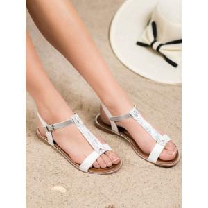 Dámske nízke biele sandále na leto