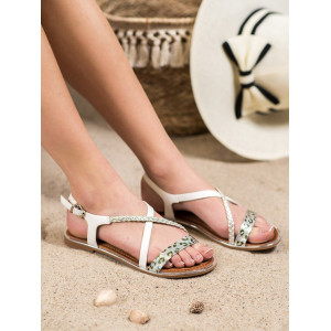 Dámske leopardie sandále na nízkom podpätku biele