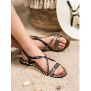 Čierne dámske nízke sandále na leto