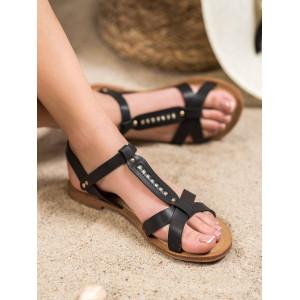 Lacné dámske letné sandále v čiernej farbe