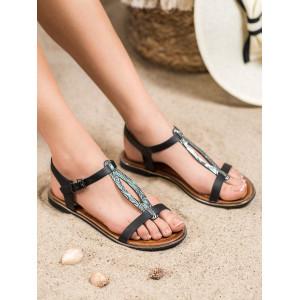 Nízke dámske sandále na leto v čiernej fabre