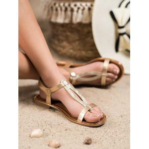 Lacné dámske sandále na leto v zlatej farbe