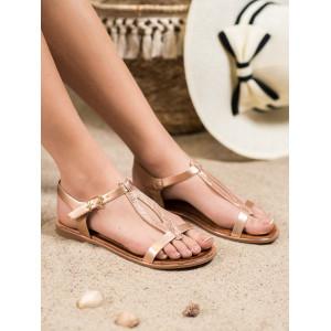 Letné dámske sandále v zlatej farbe bez podpätku