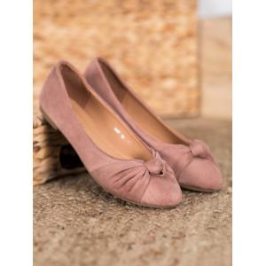 Dámske balerínky s mašľou v ružovej farbe