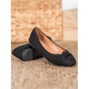 Semišové dámske balerínky v čiernej farbe