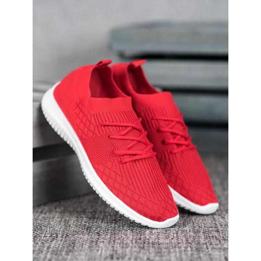 Pohodlná dámska športová obuv červenej farby