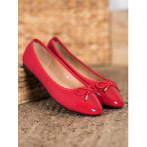 Originálne dámske balerínky v červenej farbe
