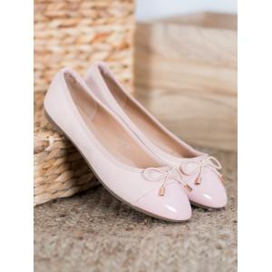 Dámske ružové balerínky s mašličkou