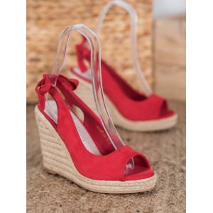 Semišové dámske sandále v červenej farbe