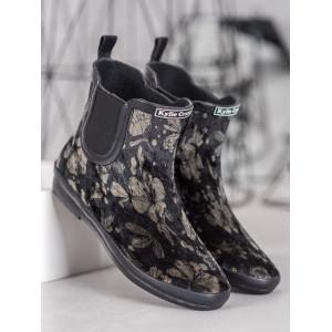 Dámske členkové topánky v čiernej farbe s motívom kvetov