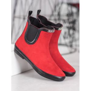 Dámske členkové topánky v červenej farbe