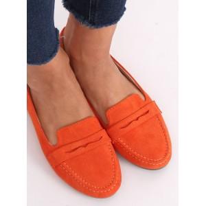 Štýlové dámske mokasíny v oranžovej farbe