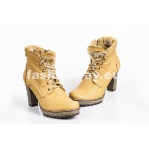Zimné kožené topánky - FARBA PIESKU