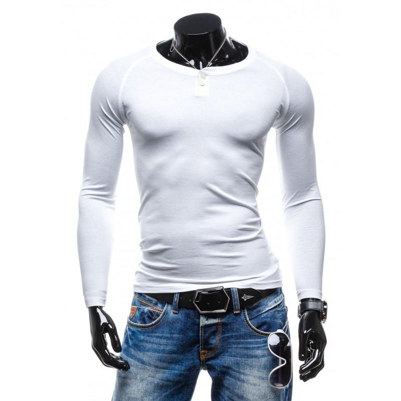 44702d29c Klasické pánske tričko s dlhým rukávom bielej farby - fashionday.eu