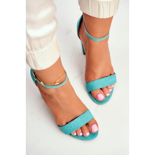 Moderné dámske tyrkysovo zelené sandále s remienom
