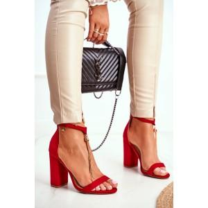 Červené dámske sandále na trendy plnom vysokom opätku