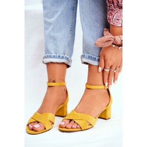 Semišové dámske žlté letné sandále