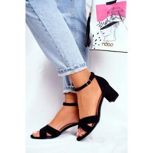 Elegantné čierne dámske sandále s viazaním na remienok