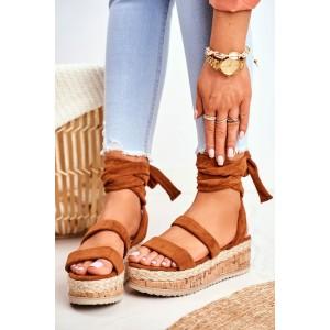 Luxusné dámske hnedé sandále na korkovej platforme