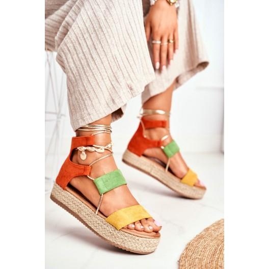 Unikátne dámske farebné sandále na platforme s pletencom