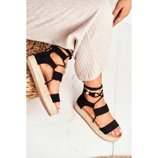 Trendy dámske čierne sandále espadrilky na platforme