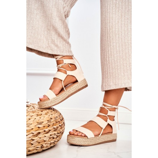 Béžové dámske sandále espadrilky na platforme