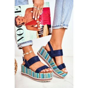 Modré dámske sandále na pletencovej farebnej platforme