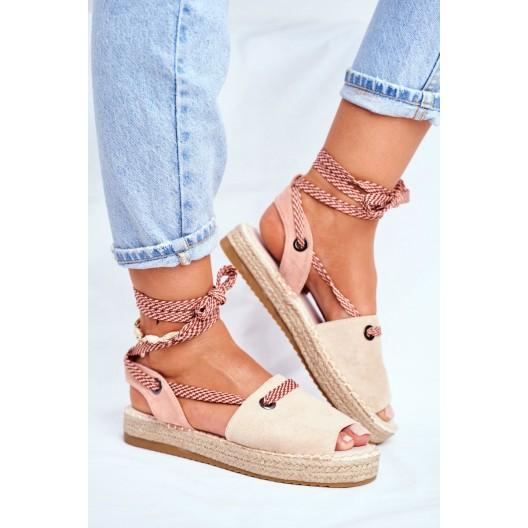 Originálne dámske béžové sandále espadrilky s módnym viazaním
