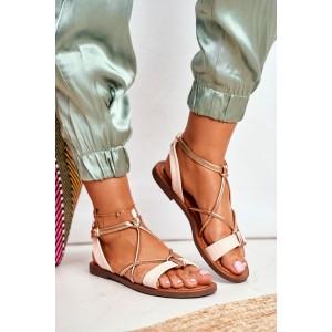 Letné dámske ružové sandále so zapínaním na remienok