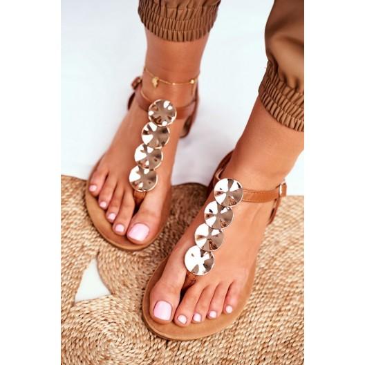 Hnedé dámske sandále s ozdobnými kruhmi