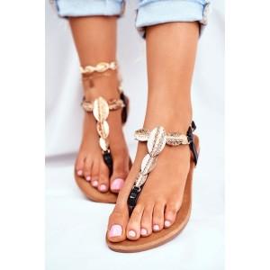 Čierne dámske nízke sandále s ozdobnými listami