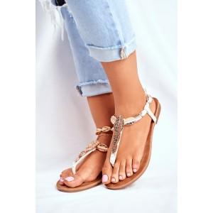 Letné biele dámske sandále so zlatými ozdobnými listami