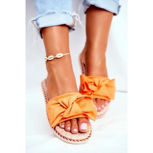 Plážové dámske šľapky s oranžovou mašľou