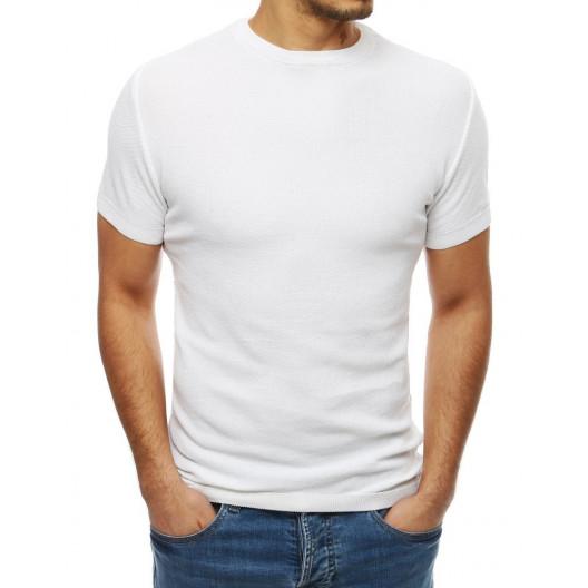 Originálny pánsky sveter s krátkym rukávom bielej farby