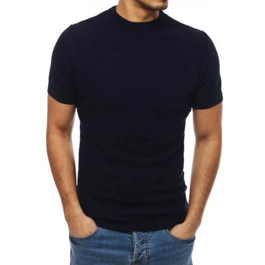 Štýlový tenký sveter modrej farby s okrúhlym výstrihom