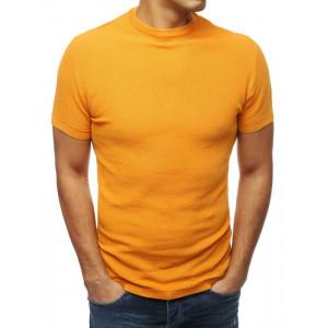 Pánsky sveter s krátkym rukávom sýto žltej farby