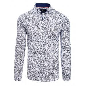 Luxusná biela pánska košeľa s moderným vzorom