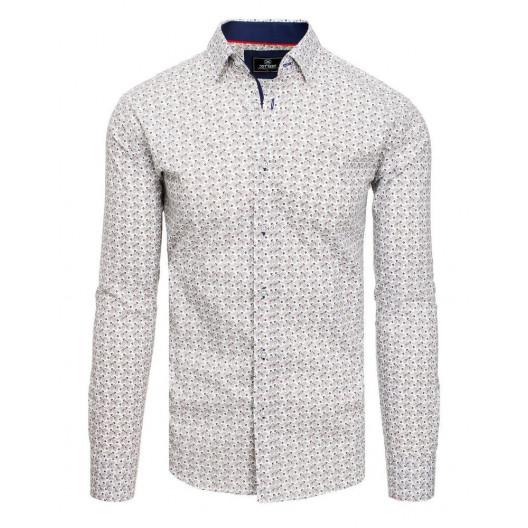 Biela vzorovaná pánska košeľa strihu slim fit