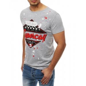 Pánske sivé tričko s potlačou a krátkym rukávom