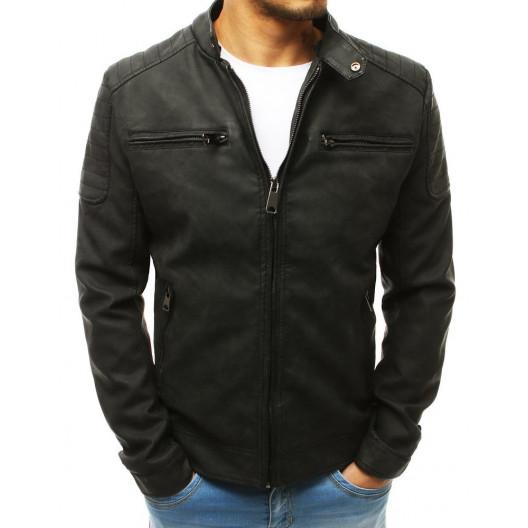 Čierna pánska kožená bunda so zapínaním na golieri