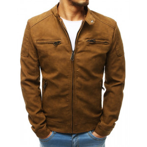Moderná hnedá kožená bunda so zapínaním na zips