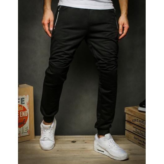 Pohodlné tepláky s vreckami na zips čiernej farby
