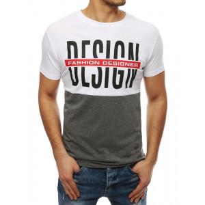 Štýlové dvojfarebné tričko s nápisom a okrúhlym výstrihom