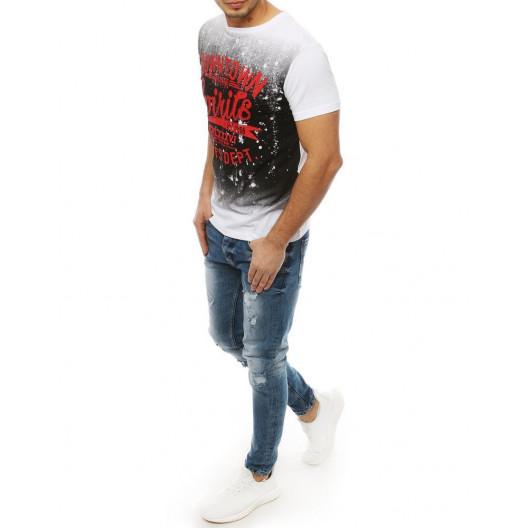 Biele pánske tričko s okrúhlym výstrihom na leto