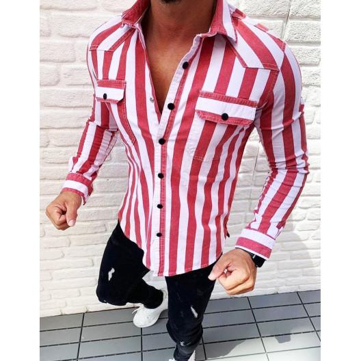 Pruhovaná košeľa s náprsnými vreckami červenej farby
