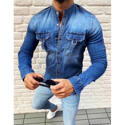 Trendová rifľová košeľa modrej farby s náprsnými vreckami