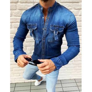 Rifľová pánska košeľa tmavo modrej farby s vysokým golierom