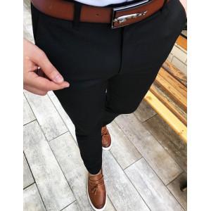 Elegantné čierne nohavice v pohodlnom strihu pre pánov