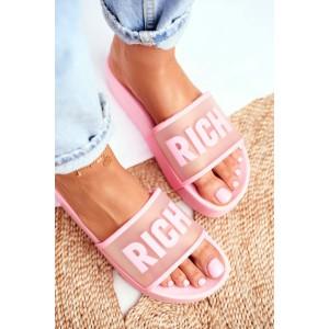 Ružové dámske šľapky na platforme RICH