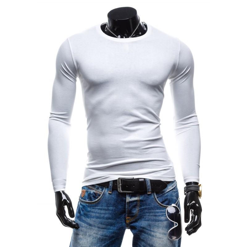3d2aceb05 Originálne biele pánske tričko s dlhým rukávom ku každému typu ...